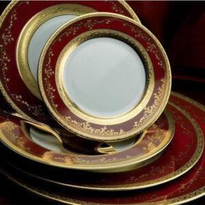 Фарфор Royal Gold - Полный Набор на 12 Персон Бордо (70 Единиц) от Цептер