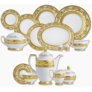 Фарфор Imperial Gold - Полный Набор на 12 Персон Кремовый (70 Единиц) от Цептер
