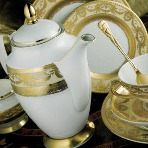 Фарфор Imperial Gold - Набор для Ужина 12 Персон Кремовый (70 Единиц) от Цептер