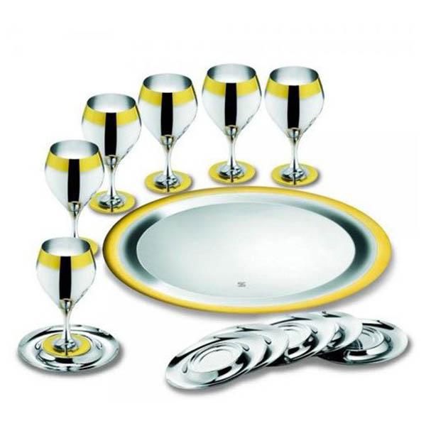 """Набор бокалов """"Принц"""" - с серебряным покрытием и золотым декором от Цептер"""